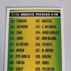 Cromos de Fútbol: MUNDICROMO 2005 2006 1110 ÍNDICE FICHAS + IV. Lote 178965143