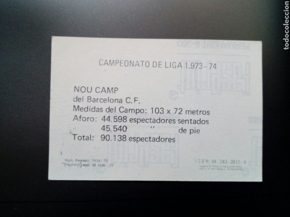 Cromos de Fútbol: (sin pegar nunca) FHER LIGA 73 - 74 : NOU CAMP 12 (Barcelona C.F.) 1973 1974 - Cromo Campeonato Liga - Foto 2 - 179023967
