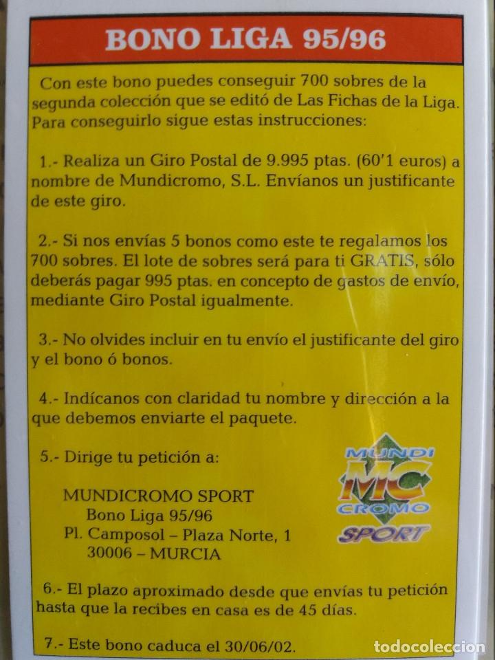 BONO LIGA 95/96 - MUNDICROMO 2002 (Coleccionismo Deportivo - Álbumes y Cromos de Deportes - Cromos de Fútbol)