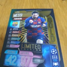 Cromos de Fútbol: CHAMPIONS TOPPS 2019 2020 LIMITED EDITION GOLD MESSI BARCELONA. Lote 180160473