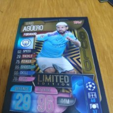 Cromos de Fútbol: CHAMPIONS TOPPS 2019 2020 LIMITED EDITION GOLD AGUERO MANCHESTER CITY. Lote 180160751