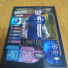 Cromos de Fútbol: CHAMPIONS TOPPS 2019 2020 LIMITED EDITION GOLD MBAPPE PERIS SAINT GERMANI. Lote 180160850