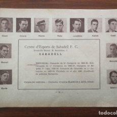 Cromos de Fútbol: C. E. SABADELL - TEMPORADA 34/35 1934/35 - HOJA DE ESTE EQUIPO DE LA GUÍA FUTBOLISTICA. Lote 159289434