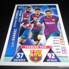Cromos de Fútbol: 109 TRIO MESSI DEMBELE SUAREZ BARCELONA ROAD TO MADRID CHAMPIONS LEAGUE TOPPS ATTAX 18 19 2018 2019. Lote 182393561