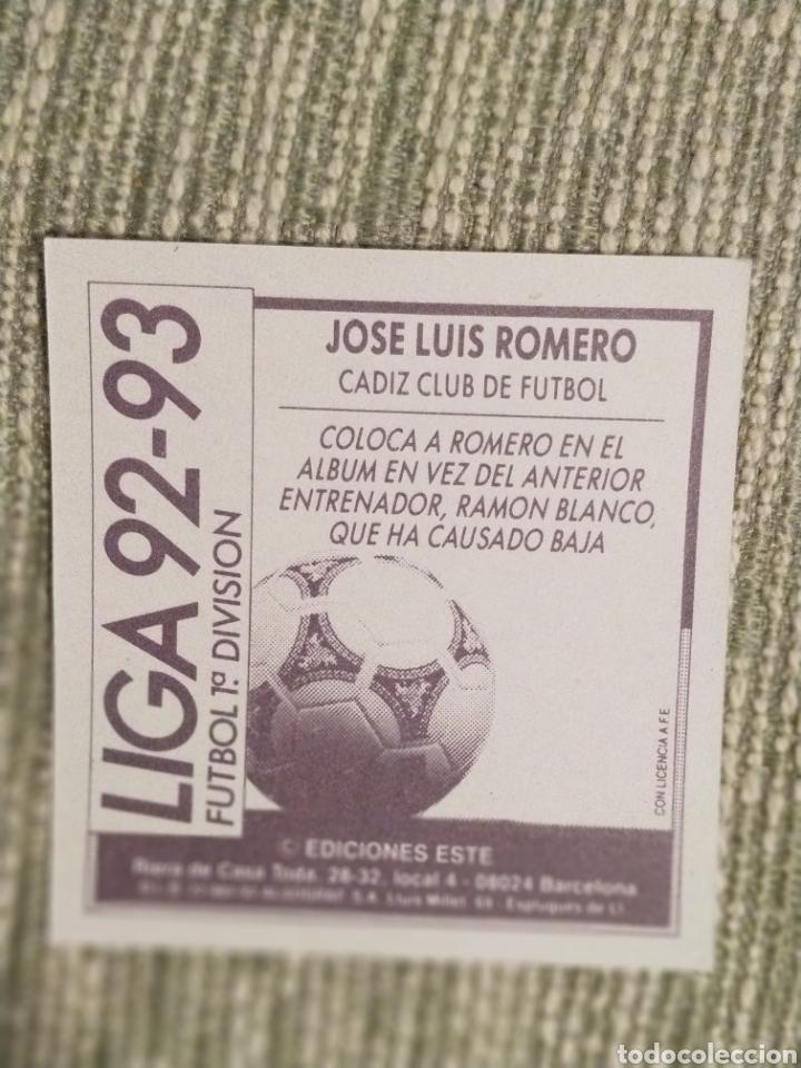 Cromos de Fútbol: Cromo coloca Jose Luis Romero Liga Este 92 93 - Foto 2 - 182547595