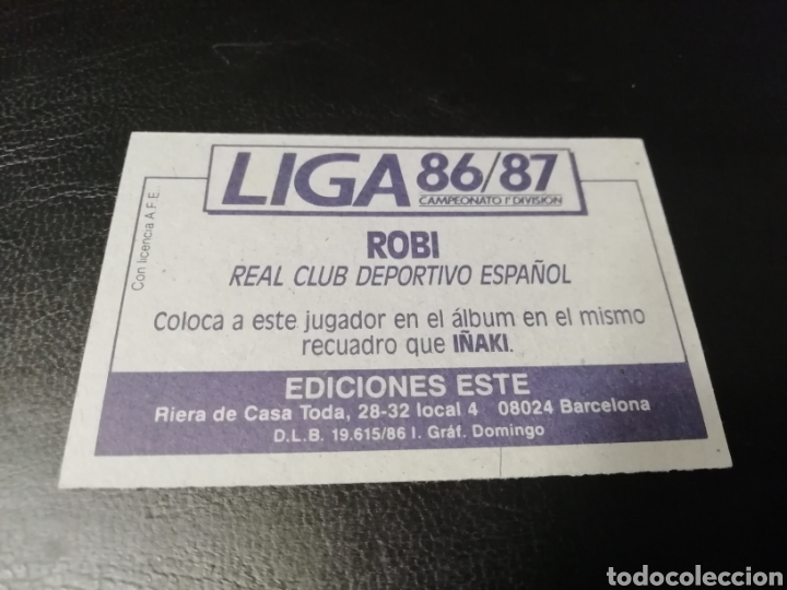 Cromos de Fútbol: Este liga 86 /87... COLOCA... Robi.. Español.. Nunca pegado.. Nuevo... - Foto 2 - 183777372