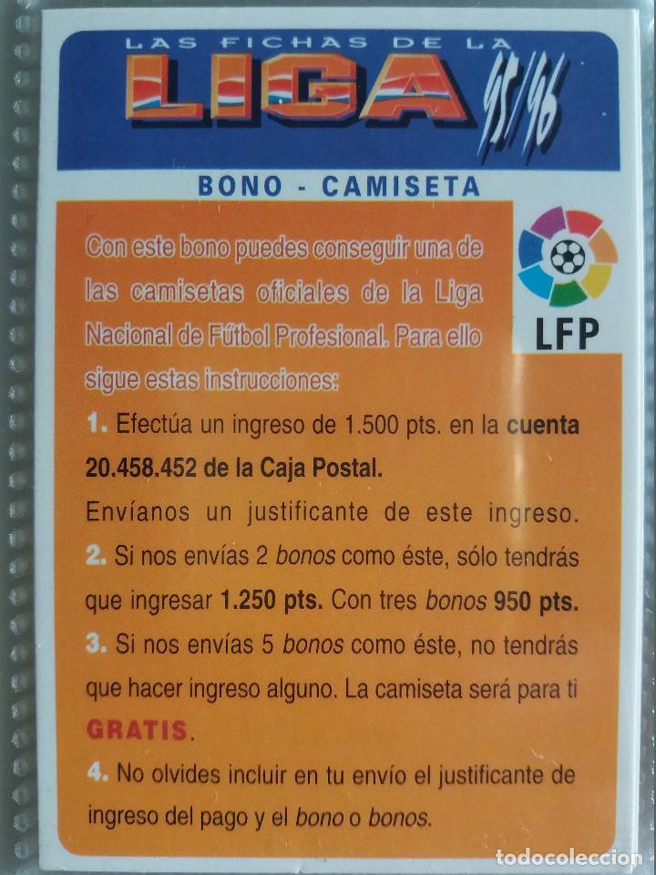 BONO CAMISETA - MUNDICROMO 95/96 (Coleccionismo Deportivo - Álbumes y Cromos de Deportes - Cromos de Fútbol)