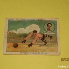 Cromos de Fútbol: CROMO UN CAMPEONATO DE FUTBOL CON POSADA DEL R.C. MADRID PUBLI DE CHOCOLATES AMATLLER AÑO 1920S.. Lote 185719318