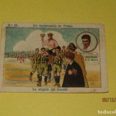 Cromos de Fútbol: CROMO UN CAMPEONATO DE FUTBOL CON MANZANEDO DEL R.C. MADRID PUBLI AGRUPACIÓN PUGILISTICA AÑO 1920S.. Lote 185721103