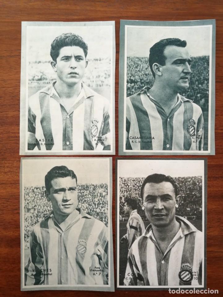SASTRE , CASAMITJANA , VILCHES Y COLL ( R.C.D. ESPAÑOL ) - CROMOS DICEN 1958 - 1959 ( 58 /59 ) (Coleccionismo Deportivo - Álbumes y Cromos de Deportes - Cromos de Fútbol)