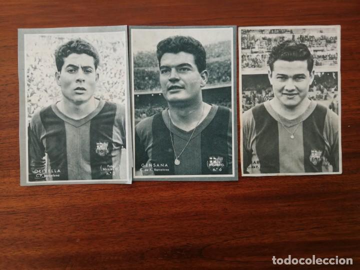 OLIVELLA, MARTINEZ Y GENSANA ( F.C. BARCELONA ) - COLECCIÓN DICEN 1958 - 1959 (Coleccionismo Deportivo - Álbumes y Cromos de Deportes - Cromos de Fútbol)