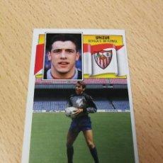 Cromos de Fútbol: UNZUE, COLOCA SEVILLA CF, EDITORIAL ESTE 90/91, LEVE RECUPERADO. Lote 191412140