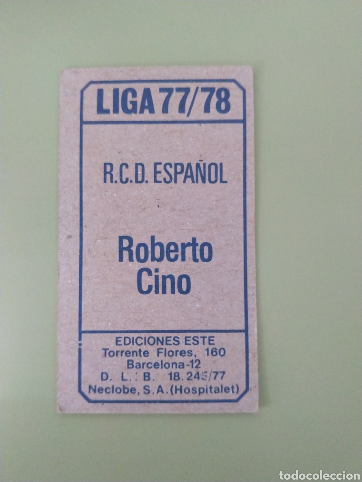 Cromos de Fútbol: Cromo baja Roberto Cino liga Este 77 78 1977 1978 - Foto 2 - 194097962
