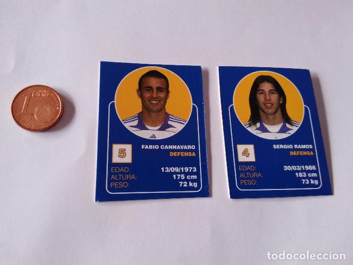 FABIO CANNAVARO Y SERGIO RAMOS - LOTE 2 CROMOS MINI CARTAS REAL MADRID 07-08 LIGA FÚTBOL 2007-2008 (Coleccionismo Deportivo - Álbumes y Cromos de Deportes - Cromos de Fútbol)