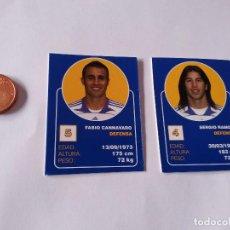 Cromos de Fútbol: FABIO CANNAVARO Y SERGIO RAMOS - LOTE 2 CROMOS MINI CARTAS REAL MADRID 07-08 LIGA FÚTBOL 2007-2008. Lote 194356185