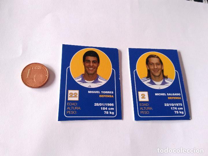MIGUEL TORRES Y MICHEL SALGADO - LOTE 2 CROMOS MINI CARTAS REAL MADRID 07-08 LIGA FÚTBOL 2007-2008 (Coleccionismo Deportivo - Álbumes y Cromos de Deportes - Cromos de Fútbol)