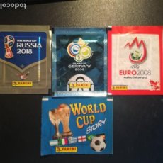 Cromos de Fútbol: PANINI LOTE 4 SOBRES NUEVOS SIN ABRIR DE EURO Y MUNDIALES . Lote 195267578