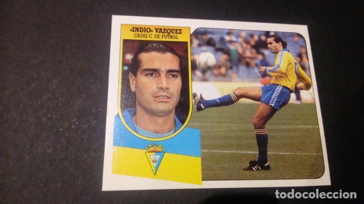 INDIO VAZQUEZ CADIZ FORMATO CARTON LEER EDICIONES ESTE LIGA TEMPORADA 91 92 1991 1992 (Coleccionismo Deportivo - Álbumes y Cromos de Deportes - Cromos de Fútbol)