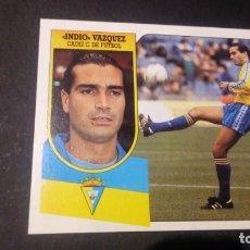 Cromos de Fútbol: INDIO VAZQUEZ CADIZ FORMATO CARTON LEER EDICIONES ESTE LIGA TEMPORADA 91 92 1991 1992. Lote 198669878