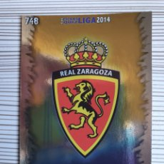 Cromos de Fútbol: 748 ESCUDO ZARAGOZA BRILLO LISO MUNDICROMO 2013 2014 PLATINUM 13 14. Lote 199834978