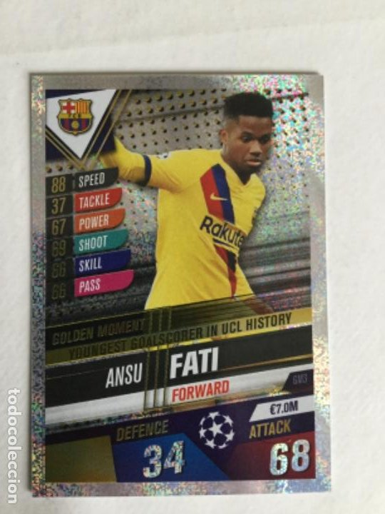 Match Attax 101 2019//20 Ansu Fati Golden momento Pegatina tarjeta NOS33+GM3