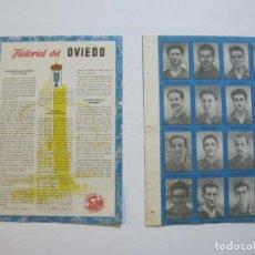 Cromos de Fútbol: REAL OVIEDO-LAMINA CON 16 CROMOS DE FUTBOL-HISTORIAL 1954 1955-VER FOTOS-(V-20.115). Lote 204826168