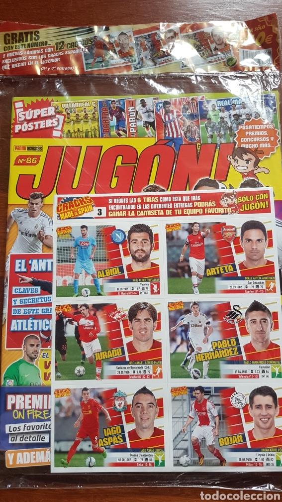 REVISTA JUGON 86 PLASTICO ORIGINAL CON 12 CROMOS CRACKS ESPAÑOLES (Coleccionismo Deportivo - Álbumes y Cromos de Deportes - Cromos de Fútbol)