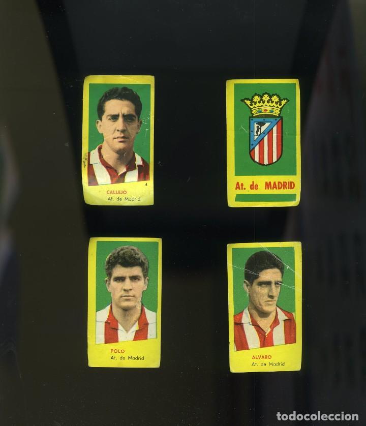 CAMPEONES1960-1961. 4 CROMOS NUNCA PEGADOS AT. MADRID: ESCUDO DEL CLUB-CALLEJO-ÁLVARO-POLO (Coleccionismo Deportivo - Álbumes y Cromos de Deportes - Cromos de Fútbol)