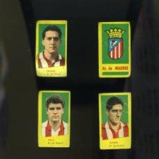 Cromos de Fútbol: CAMPEONES1960-1961. 4 CROMOS NUNCA PEGADOS AT. MADRID: ESCUDO DEL CLUB-CALLEJO-ÁLVARO-POLO. Lote 205816340