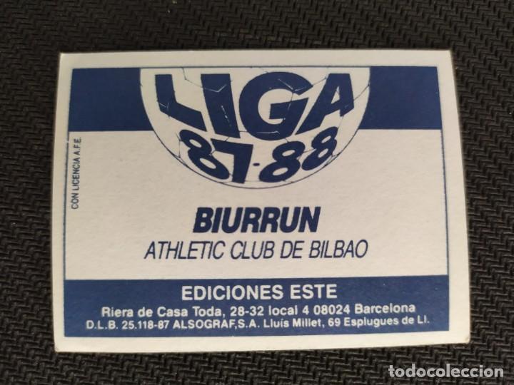 Cromos de Fútbol: Liga Este 1987 1988 / 87 88 Biurrun (Athletic de Bilbao) Nunca pegado (sin pegar) - Foto 2 - 206572351