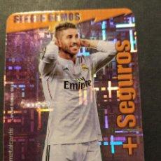 Cromos de Fútbol: SERGIO RAMOS 6/14 + SEGUROS FONDO TETRIS- (R. MADRID) QUIZ GAME 2015 (MUNDICROMO 2014/15) LIM.EDIC.. Lote 210425790