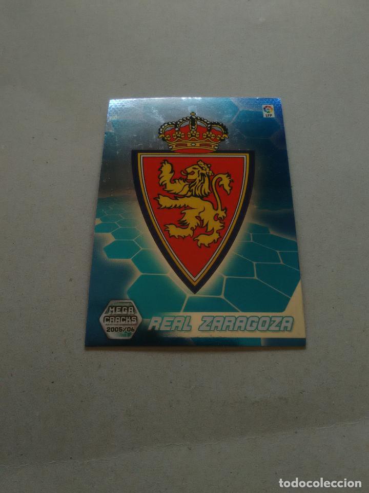 Nº 343 ESCUDO REAL ZARAGOZA - CROMO FÚTBOL PANINI MEGACRACKS 2005-2006 MGK LIGA 05-06 (Coleccionismo Deportivo - Álbumes y Cromos de Deportes - Cromos de Fútbol)