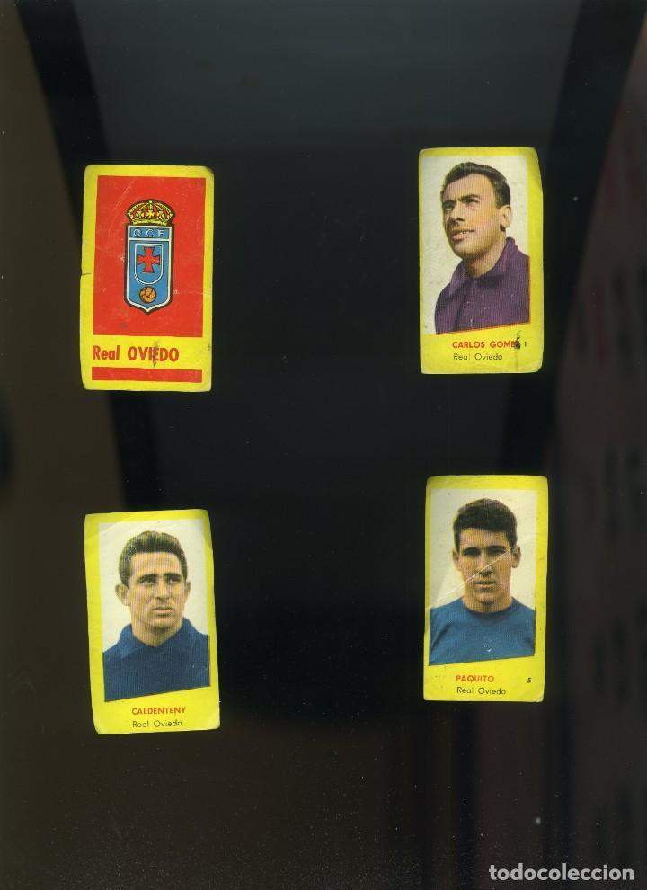 CAMPEONES 1961. BRUGUERA. OVIEDO 4 CROMOS NUNCA PEGADOS:ESCUDO-CARLOS GOMES-CALDENTEY-PAQUITO (Coleccionismo Deportivo - Álbumes y Cromos de Deportes - Cromos de Fútbol)