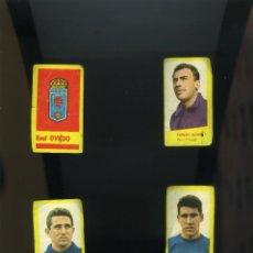 Cromos de Fútbol: CAMPEONES 1961. BRUGUERA. OVIEDO 4 CROMOS NUNCA PEGADOS:ESCUDO-CARLOS GOMES-CALDENTEY-PAQUITO. Lote 215665965
