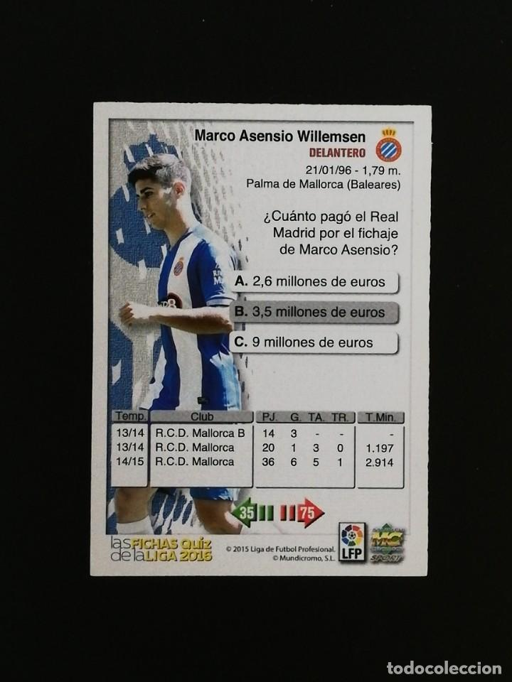 Cromos de Fútbol: #690 690 MARCO ASENSIO ESPANYOL 2016 LAS FICHAS QUIZ MUNDICROMO 16 - Foto 2 - 217961823