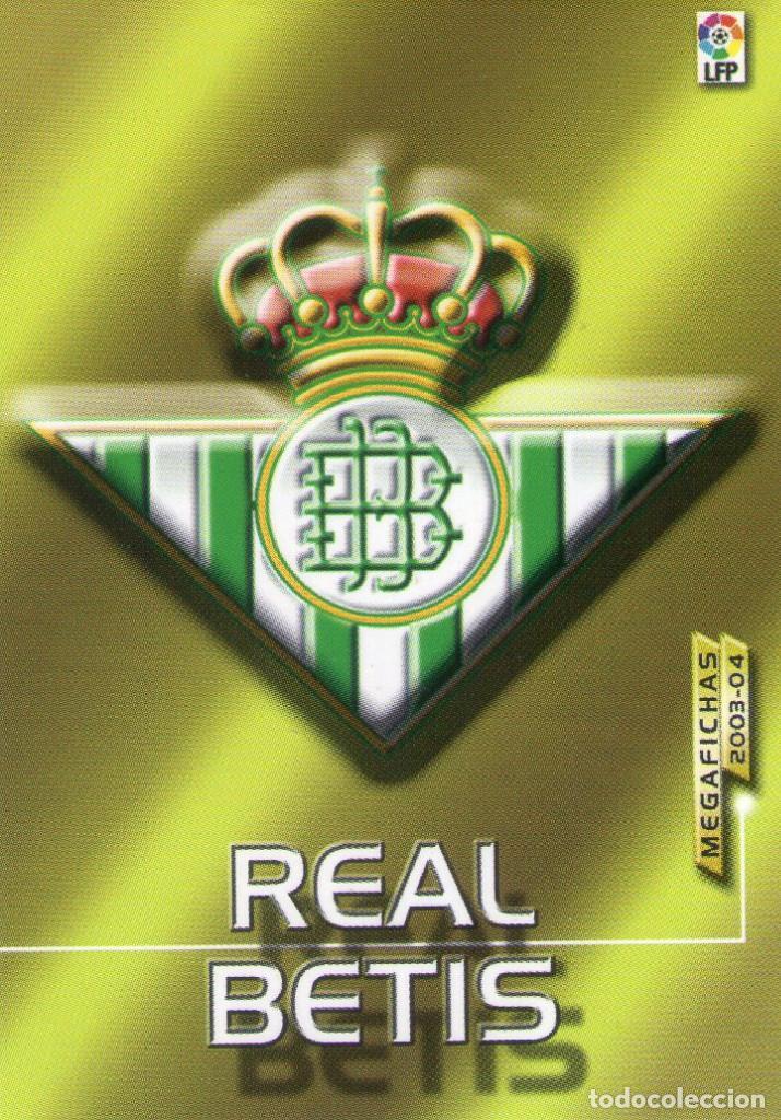 ESCUDO DEL REAL BETIS - Nº 73 - MEGAFICHAS 2003/2004 - PANINI. (Coleccionismo Deportivo - Álbumes y Cromos de Deportes - Cromos de Fútbol)