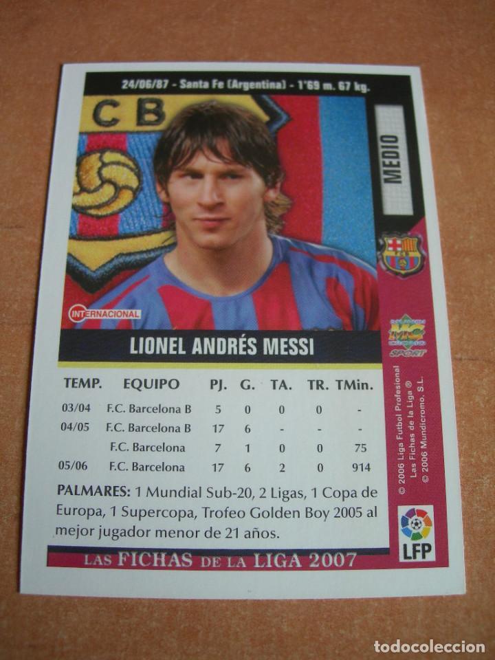 Cromos de Fútbol: CROMO / CARD Nº 19 MESSI DE LAS FICHAS DE LA LIGA 2006 2007 06 07 - ÁLBUM DE MUNDICROMO SPORT - - Foto 3 - 220946533