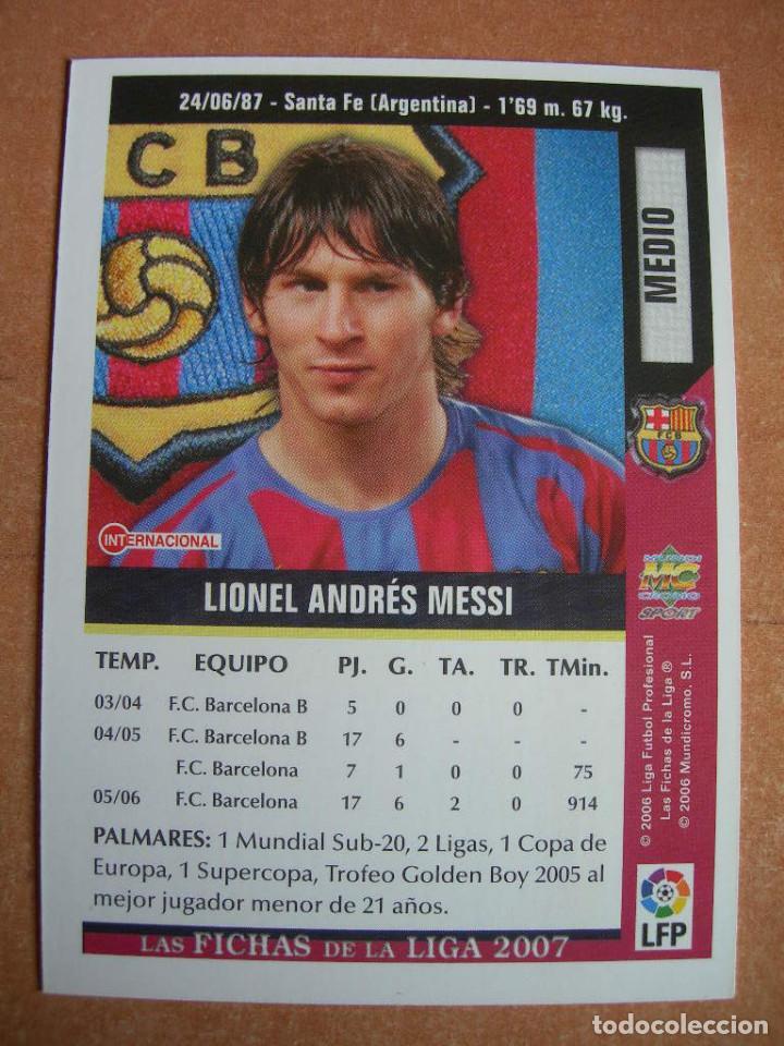 Cromos de Fútbol: CROMO / CARD Nº 19 MESSI DE LAS FICHAS DE LA LIGA 2006 2007 06 07 - ÁLBUM DE MUNDICROMO SPORT - - Foto 4 - 220946533