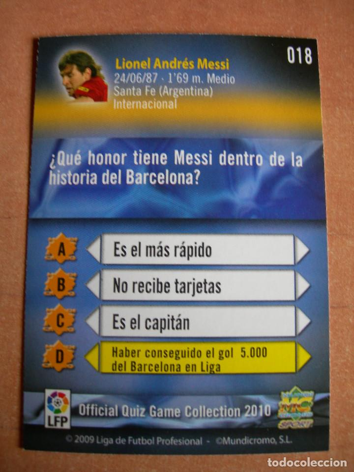 Cromos de Fútbol: CROMO / CARD Nº 18 MESSI OFFICIAL QUIZ GAME COLLECTION 2010 - ÁLBUM DE MUNDICROMO SPORT - - Foto 3 - 220949541