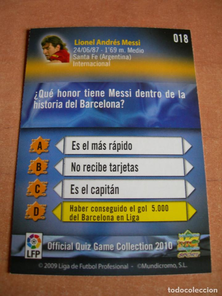 Cromos de Fútbol: CROMO / CARD Nº 18 MESSI OFFICIAL QUIZ GAME COLLECTION 2010 - ÁLBUM DE MUNDICROMO SPORT - - Foto 4 - 220949541