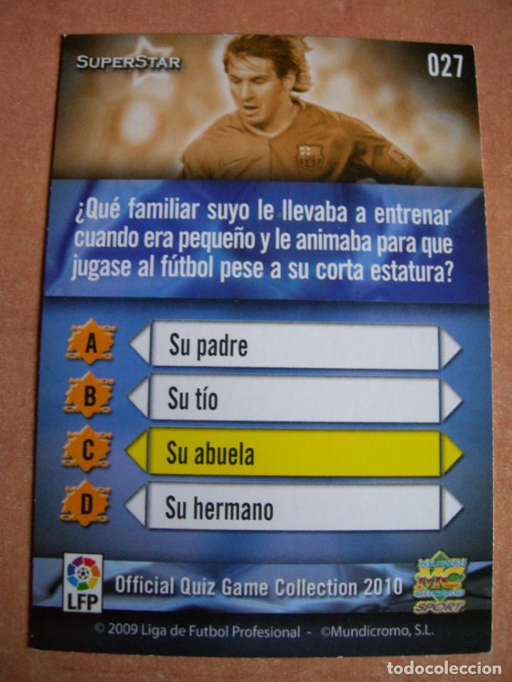 Cromos de Fútbol: CROMO / CARD Nº 27 MESSI SUPERSTAR OFFICIAL QUIZ GAME COLLECTION 2010 - ÁLBUM DE MUNDICROMO SPORT - - Foto 4 - 220976763