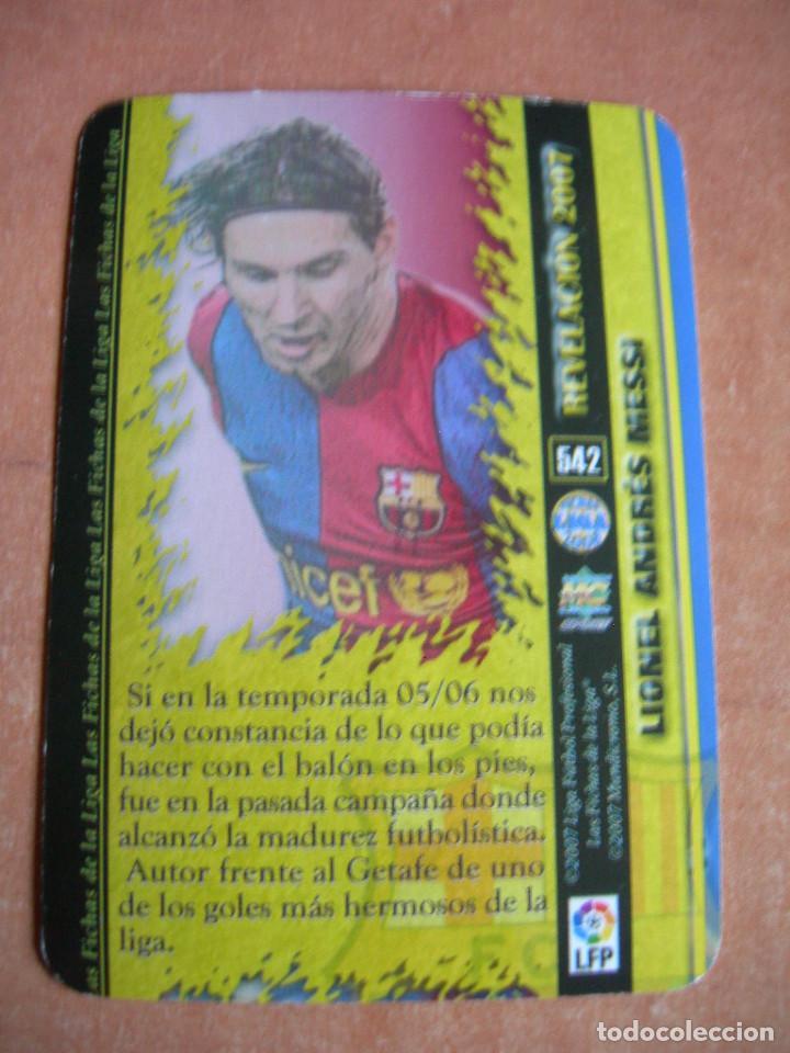 Cromos de Fútbol: CROMO / CARD Nº 542 MESSI REVELACIÓN LAS FICHAS DE LIGA 2006 2007 06 07 - ÁLBUM MUNDICROMO SPORT - - Foto 3 - 220978065