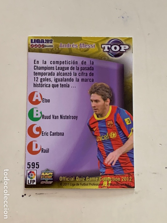Cromos de Fútbol: MESSI CROMO 595 TOP 7 AZUL MUNDICROMO 2012. OFFICIAL QUIZ COLLECTION 2012 - Foto 2 - 221437422