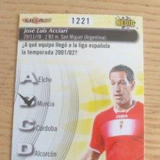 Cromos de Fútbol: FÚTBOL CROMO Nº 1221 ACCIARI REAL MURCIA QUIZ GAME MUNDICROMO 2012 2013. Lote 222901558