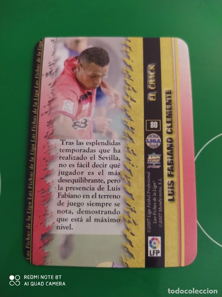 Cromos de Fútbol: N° 80 LUIS FABIANO EL CRAK BRILLANTE JASPEADO MUNDICROMO 08 LAS FICHAS DE LA LIGA 2008 - Foto 2 - 226114866