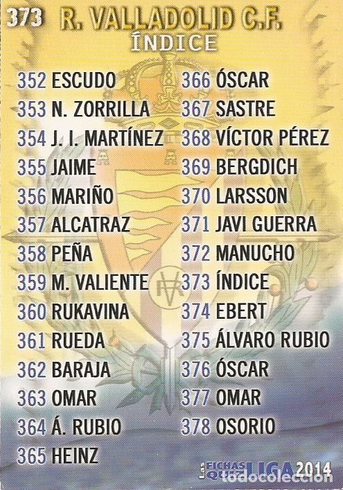 2013-2014 - 373 INDICE - REAL VALLADOLID - MUNDICROMO OFFICIAL QUIZ GAME - 5 (Coleccionismo Deportivo - Álbumes y Cromos de Deportes - Cromos de Fútbol)
