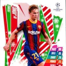 Cromos de Fútbol: HU2 FRENKIE DE JONG - FC BARCELONA - FESTIVE EDITION - TOPPS CHAMPIONS LEAGUE MATCH 2020 2021 20 21. Lote 227891025