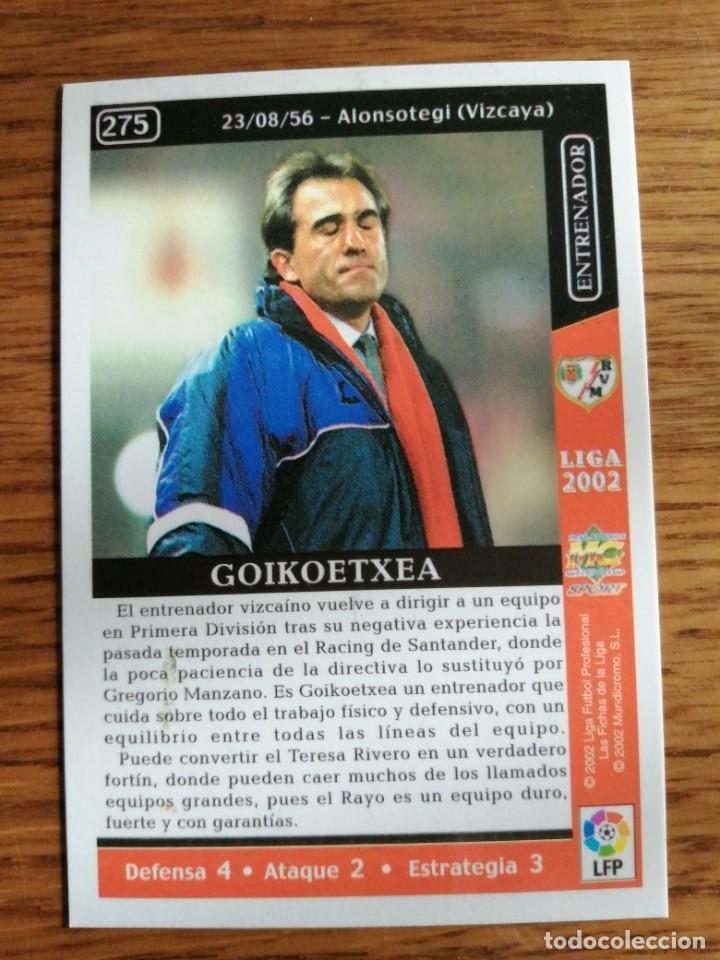 Cromos de Fútbol: MUNDICROMO 2002. RAYO VALLECANO GOIKOETXEA NÚMERO 275 - Foto 2 - 253547525