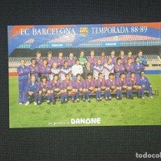 Cromos de Fútbol: POSTAL DEL FC BARCELONA TEMPORADA PLANTILLA 88 - 89 FIRMAS PRE IMPRESAS. Lote 233453325