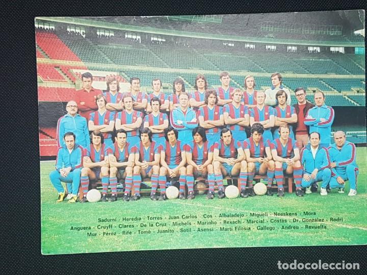 POSTAL DEL FC BARCELONA TEMPORADA 1974 - 1975 DE COLECCIONISTA PLANTILLA SIN PUBLICIDAD (Coleccionismo Deportivo - Álbumes y Cromos de Deportes - Cromos de Fútbol)